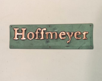 "Small green copper Gate door name Sign address plaque up to 22 letters of your choice in 1"" high Garamond font d"