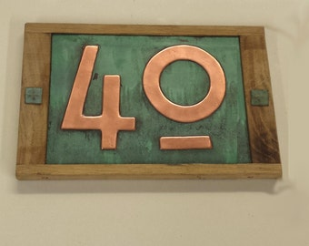 """Copper address plaque in Mission Mackintosh style, Oak framed 2x nos 3""""/75mm or 4""""/100mm, polished, patinated and laquered d"""