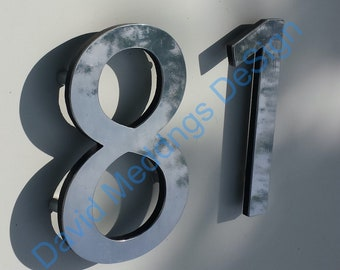 """Polished aluminium modern floating house numbers  6"""" high in Myriad Pro font d"""