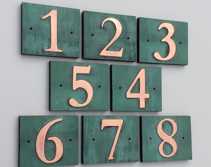 "Traditional house number green copper on plywood 1x 3""/75mm or 4""/100 mm, with real patina in Garamond d"