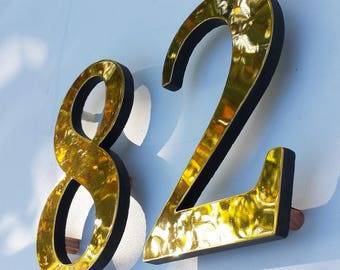 """Large Brass  house numbers floating 6""""/150mm high in Garamond font lacquered d"""