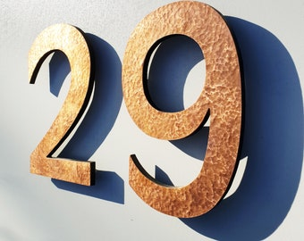 """Modern green or hammered copper House numbers floating, 6""""/150mm high in Antigoni t"""
