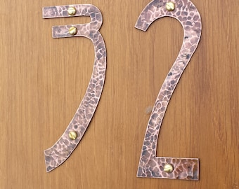 "Art Nouveau style house numbers, large  in polished or hammered copper, eco friendly - 6""/150mm high numbers g"
