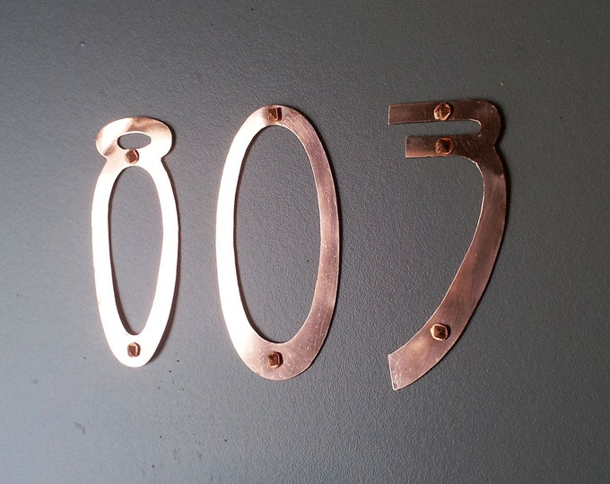 "Metal Art Nouveau  House Numbers in real copper in polished and hammered 1 - 5 x numbers in 3""/75mm size d"