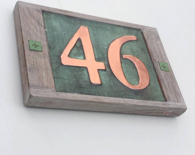 "House number sign in Real copper with limed oak frame 2x 3""/75mm or 4""/100 mm high numbers d"