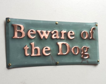 "Beware of the Dog sign plaque in patinated copper -  1"" high Garamond font - Custom orders welcome through linkd"