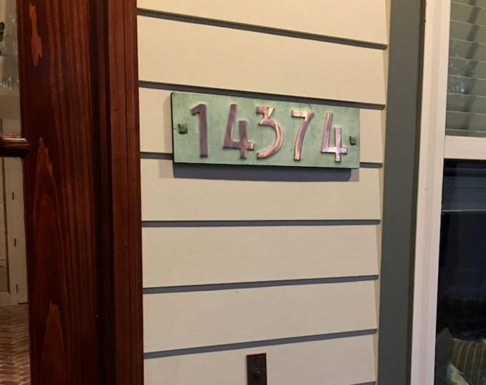 "Mission Mackintosh copper address plaque  3""/75mm, 4""/100mm high nos. with plywood back, custom made, 5 x numbers, for brick and stucco d"