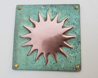 """Sun star solar copper plaque in green copper sheet 3.25""""/82mm square d"""