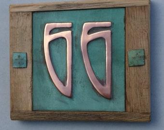 "Art Nouveau green Copper and Oak Plaque 2x nos. 3""/75mm, 4""/100mm high numbers d"