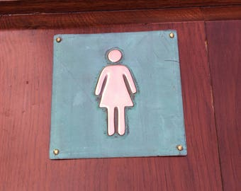 "Female ladies room toilet lavatory sign Plaque 4.5""""/115mm square in polished and patinated copper sheet with fixings g"