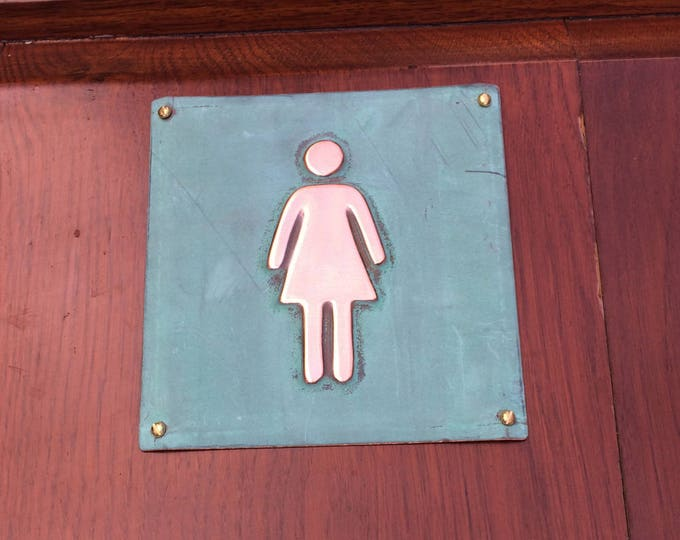 "Female ladies room toilet lavatory green copper Plaque 4.5""""/115mm square  with fixings d"