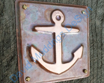 "Anchor ship nautical copper sailing  plaque gift in hammered or green copper 3.5 x 3.25""/90x80mm d"