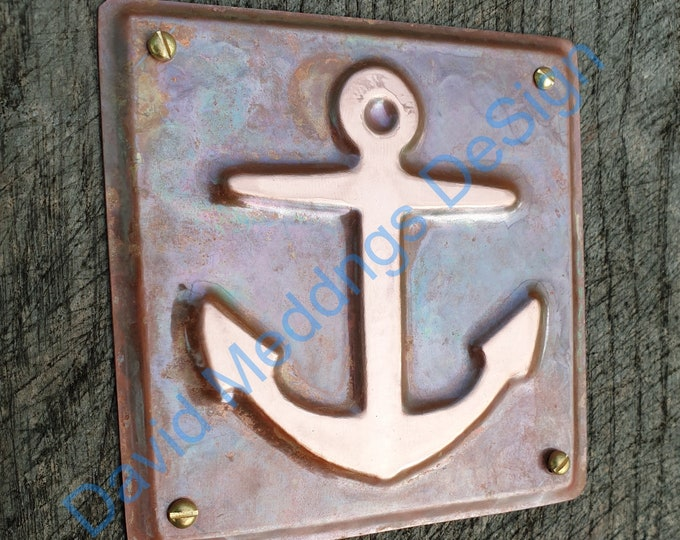 """Anchor ship nautical copper sailing  plaque gift in hammered or green copper 3.5 x 3.25""""/90x80mm d"""