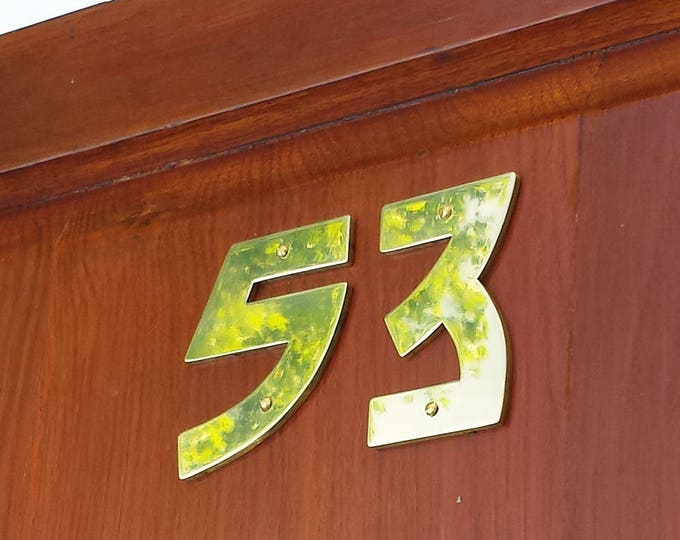 "Brass Arts and Crafts  house numbers -  75mm/3"" high cutout in Bala font, handmade in polished or hammered finish g"