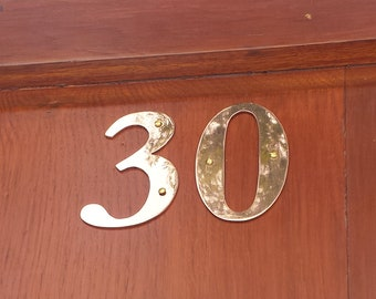 "Brass house numbers with letter in Garamond -  75mm/3"" or 4""/100mm high cutout. handmade in polished or hammered finish g"