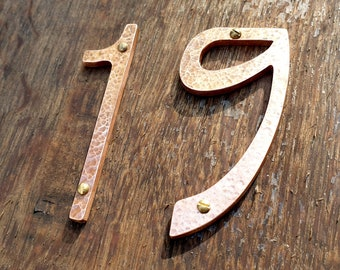 "Art Nouveau style Copper numbers  polished, hammered or brushed, 3""/75mm or 4""/100mm high Rivanna font t"
