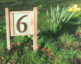 """Yard Garden House plaque Sign number in Copper with oak frame and posts in 6""""/150mm Garamond d"""