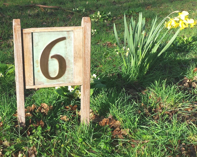 "Yard Garden House plaque Sign number in Copper with oak frame and posts in 6""/150mm Garamond d"