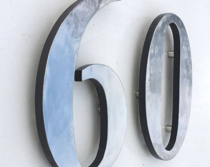 "Polished or brushed aluminium floating standoff house numbers in 6"" high Garamond, marine lacquered d"