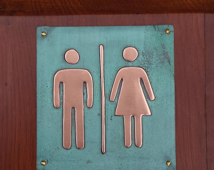 "Unisex toilet lavatory sign Plaque 4.5""""/115mm square in polished and patinated copper sheet with fixings g"