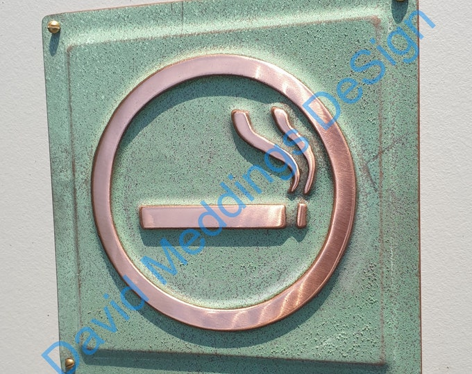 "Smoking area sign door Plaque in patinated or hammered copper 4.5""""/115mm square d"
