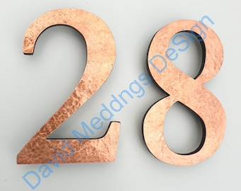"""Copper floating numbers in 12""""/300mm high in  hammered or brushed,  some discreet seams, Garamond t 5"""