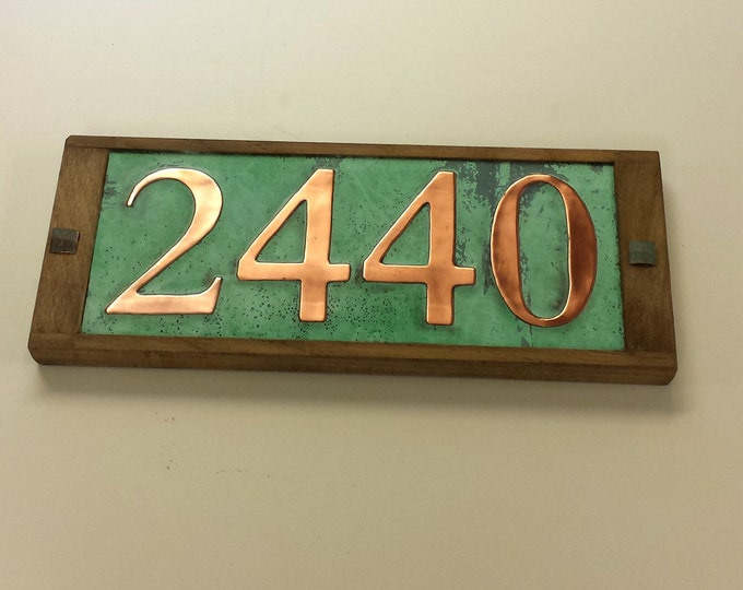 "Copper Address number plaque with limed oak frame 4x nos. 3""/75mm or 4""/100mm in Garamond d"