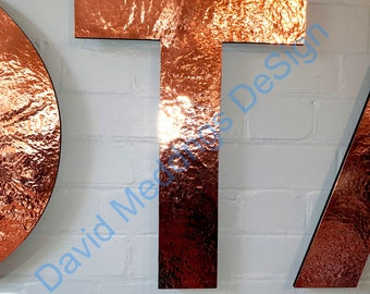"""Large  CAPITAL hammered or brushed Copper or brass letters in standoff style Antigoni 6""""/150 mm high laquered d"""