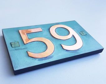 "Copper house numbers with plywood back with easy screw fixing  3""/75mm, 4""/100 mm high 2x nos in Antigoni d"