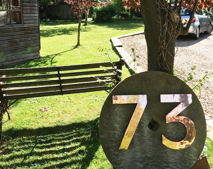 """Large  copper 3D floating numbers 24""""/60cms high Antigoni font in polished, brushed or hammered finish with some discreet seams g"""