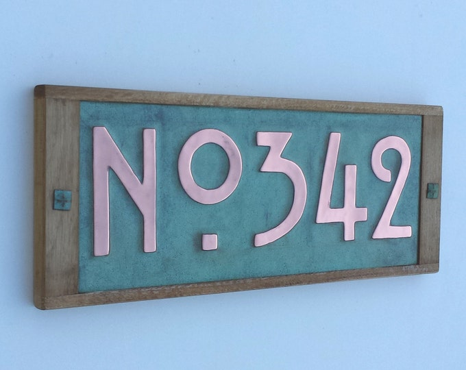 "House plaque in Mission Mackintosh Style ,3""/75 or 4""/100mm high numbers,  copper with oak frame, 3 x numbers with 'No' prefix d"