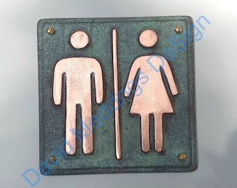 "Unisex Plaque green or hammered copper toilet lavatory washroom sign  4.2""""/105mm square d"