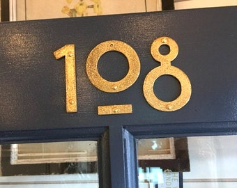 "Brass house mailbox numbers in Mission Mackintosh style in polished, hammered or brushed finish 3""/75mm or 4""/100mm high  t"