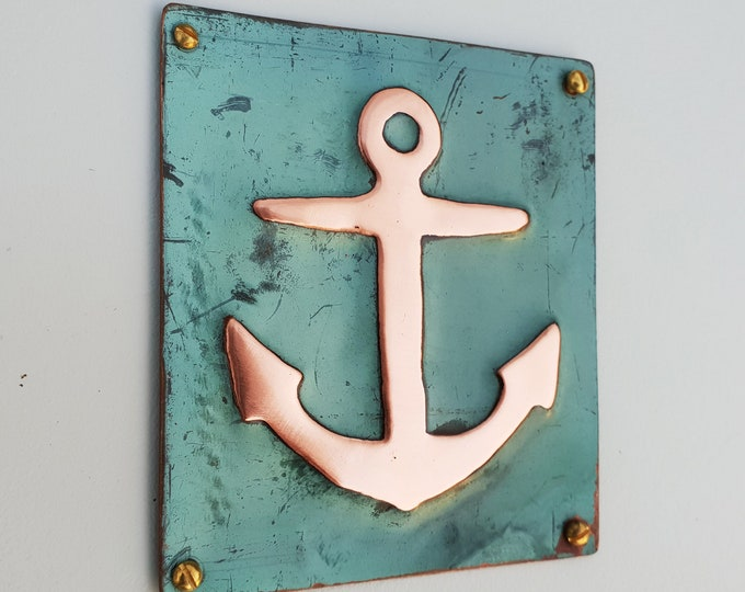 "Anchor ship nautical copper plaque gift in green copper sheet 3.5x3.25""/90x80mm d"