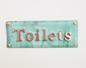 "Toilets lavatory washroom notice sign Plaque in 1""/25mm high Garamond in polished and patinated copper sheet g"