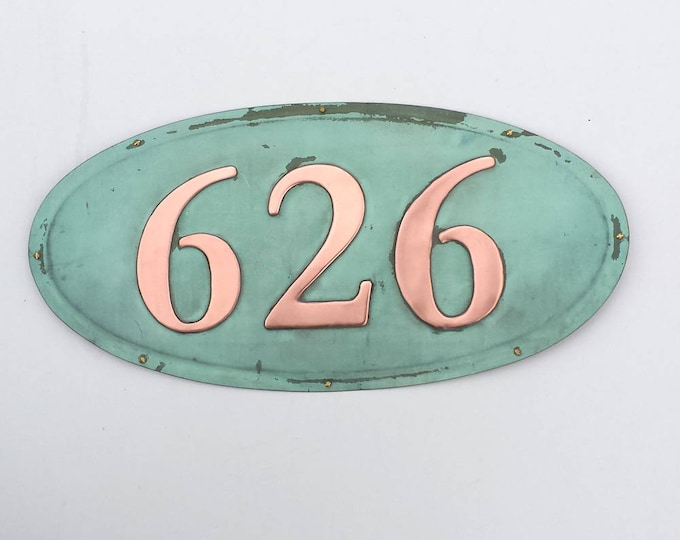 "Oval House number plaque  in patinated copper, 4""/100mm high numbers, Garamond font polished and laquered g"