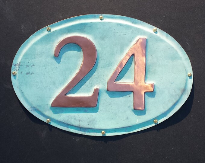 "Oval green copper House number plaque in Garamond font 3""/75mm high nos d"