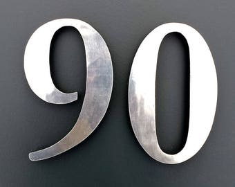 "Polished aluminium 3D 9""/228mm high house serif numbers in Garamond,   marine lacquered with floating standoff fitting g"