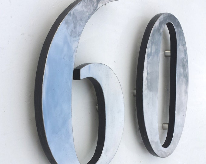 "Aluminium house numbers floating 12"" high  in Garamond,  Polished with  marine lacquered d"