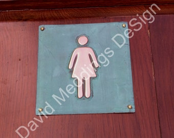 "Female ladies room toilet lavatory green or hammered copper Plaque 4.2""""/105mm square  with fixings d"