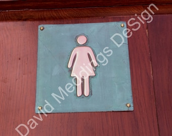 """Female ladies room toilet lavatory green or hammered copper Plaque 4.5""""""""/115mm square  with fixings d"""