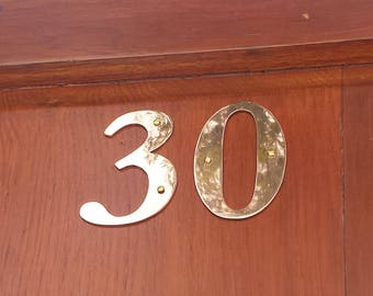 "Brass Garamond serif house numbers -  75mm/3"" high cutout. handmade in polished or hammered finish g"