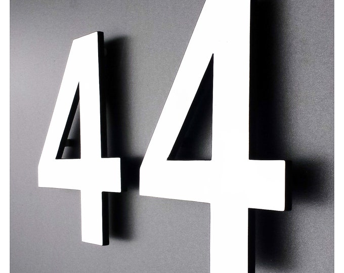 "Modern contemporary Coloured House numbers in Antigoni  6""/150mm high standoff floating d"