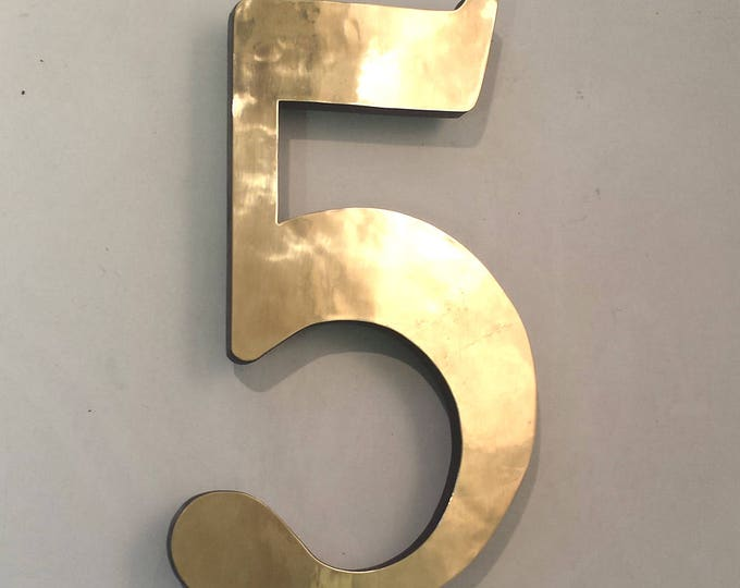 "Architectural Brass floating 3D house numbers polished, hammered or brushed 4""/100mm high  in Garamond d"