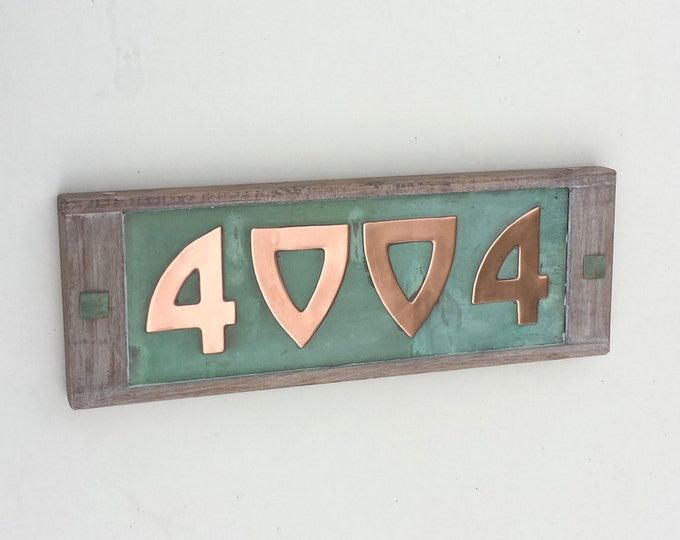 "Arts and Crafts Style Wood and Copper House numbers 3""/75mm or 4""/100mm high, 4x nos in Bala font d"