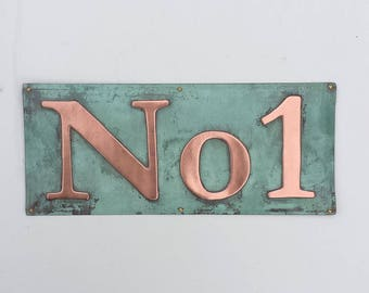 "Copper number House plaque Sign polished and laquered in 3""/75mm or 4""/100mm high Garamond - 'No' with your number d"