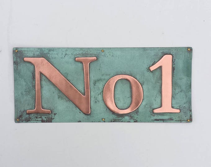 "Copper House plaque Sign in serif font 3""/75mm, 4""/100mm high, polished and laquered, Garamond 'No' with digits d"