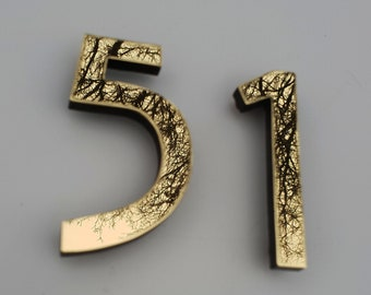 "Mission Mackintosh style floating numbers in brass 3""/75mm,4""/100mm high  Hill House font d"