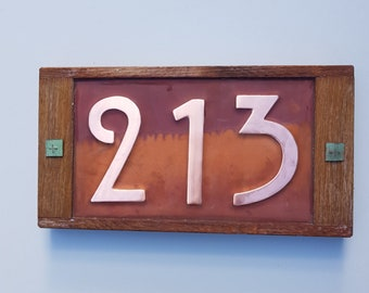 """Mission Mackintosh style house numbers in Oak and Copper address plaque, 3x nos 3""""/75mm, 4""""/100mm high d"""