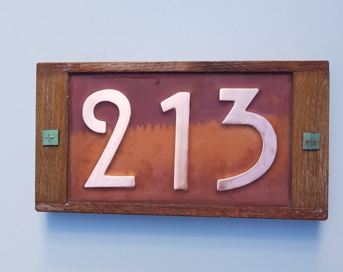 "Mission Mackintosh style house numbers in Oak and Copper address plaque, 3x nos 3""/75mm, 4""/100mm high d"